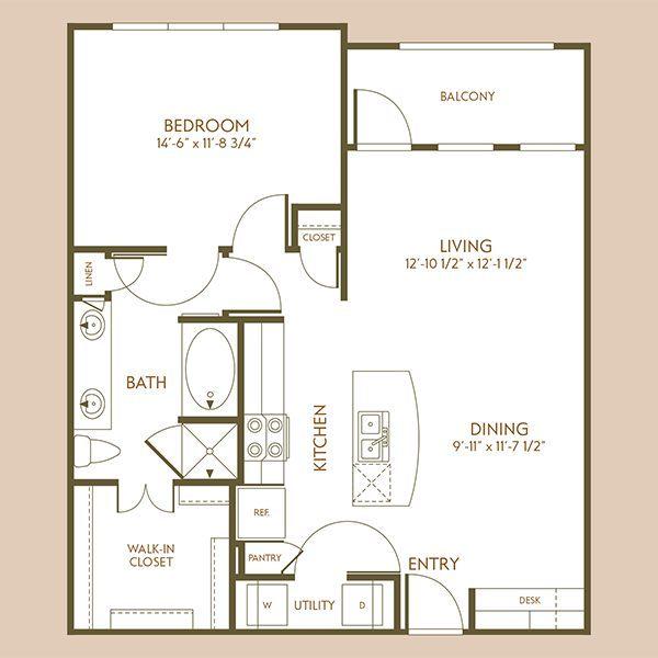847 sq. ft. A7 floor plan