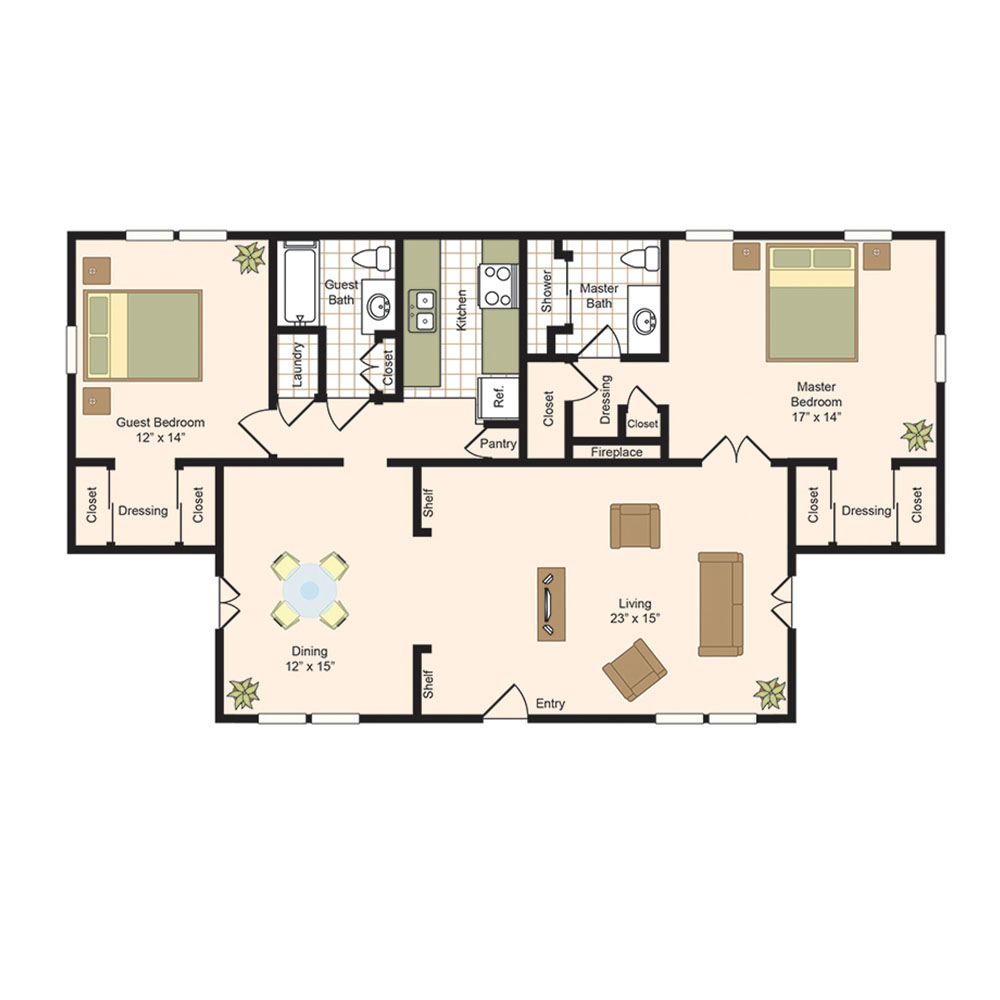 1,408 sq. ft. H-House floor plan