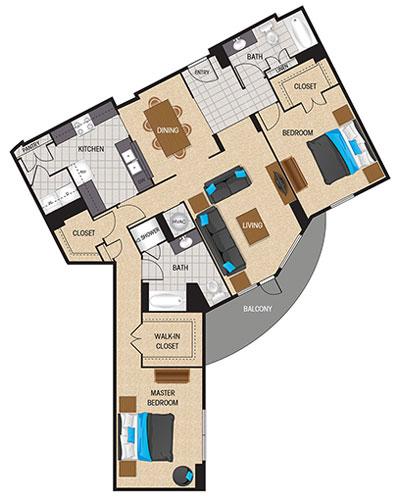 1,529 sq. ft. Ultramarine floor plan