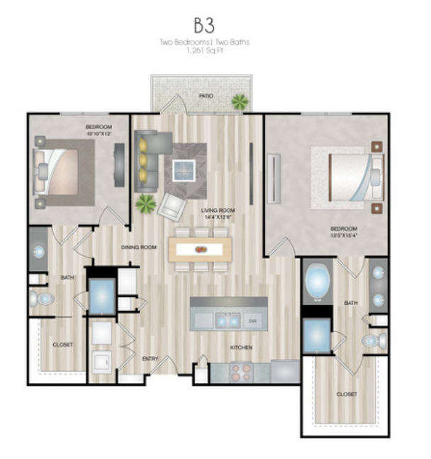 1,261 sq. ft. B3 floor plan