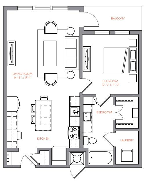 815 sq. ft. A1C floor plan
