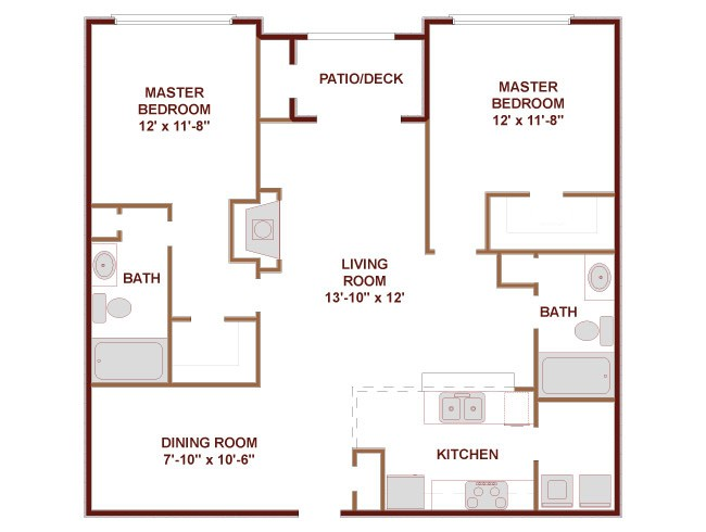 1,200 sq. ft. Texas Eagle floor plan