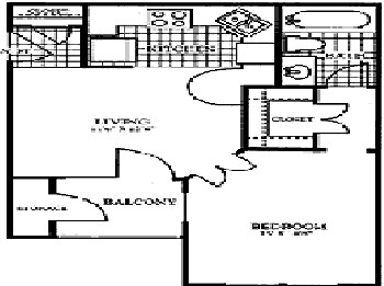 491 sq. ft. A1 floor plan
