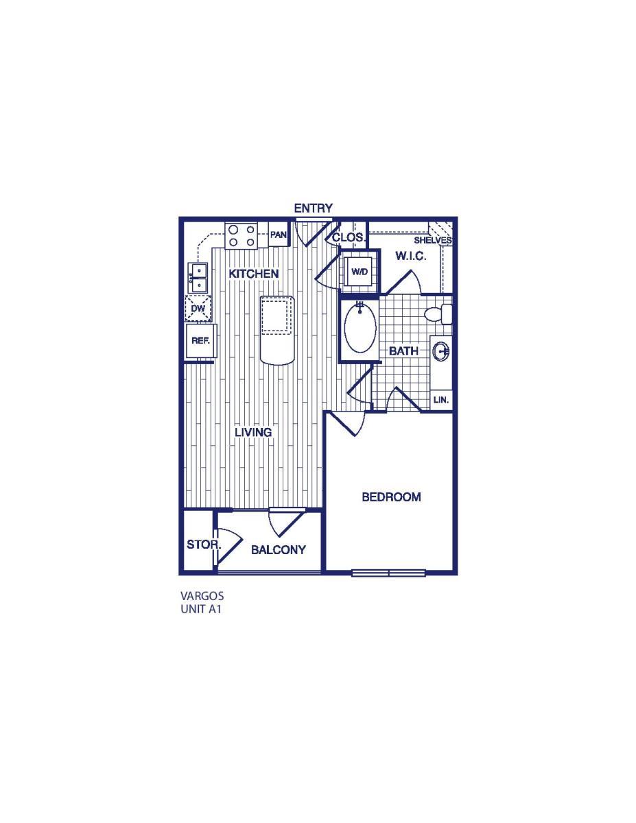 609 sq. ft. A1 floor plan