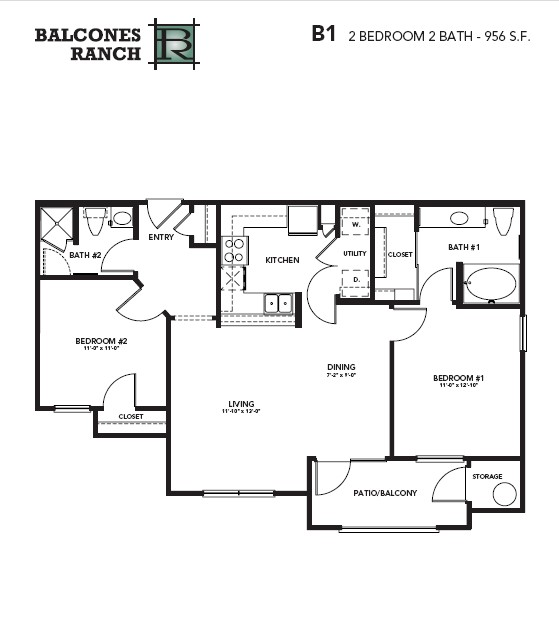 956 sq. ft. Ruby floor plan