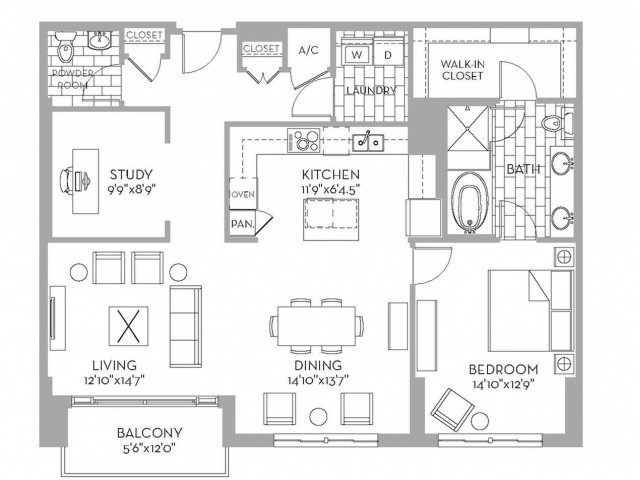 1,343 sq. ft. Preston(A.10) floor plan
