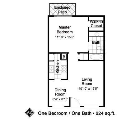 624 sq. ft. A2 floor plan