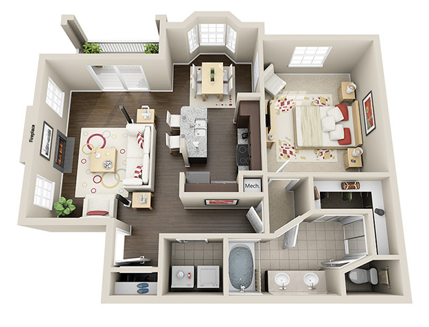 845 sq. ft. A2 floor plan