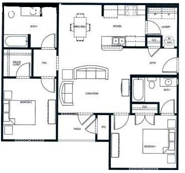 1,072 sq. ft. floor plan