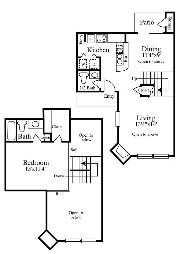 839 sq. ft. ATH floor plan