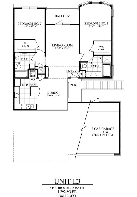 1,292 sq. ft. E3 floor plan