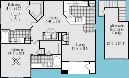 1,135 sq. ft. B4 floor plan