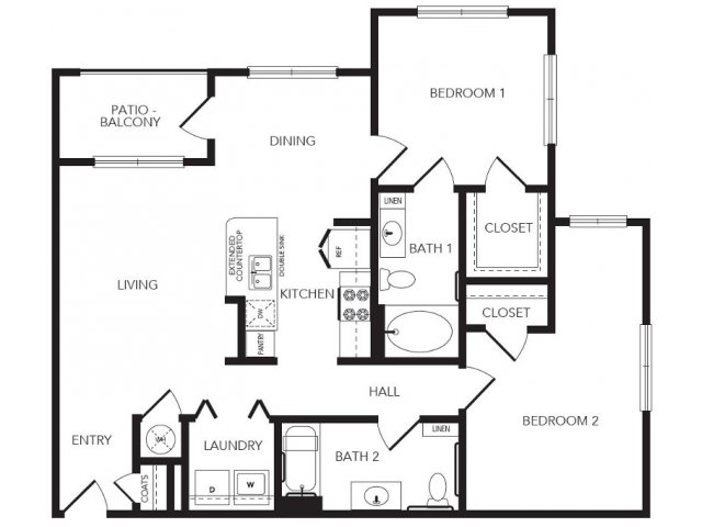 1,117 sq. ft. Eldridge floor plan