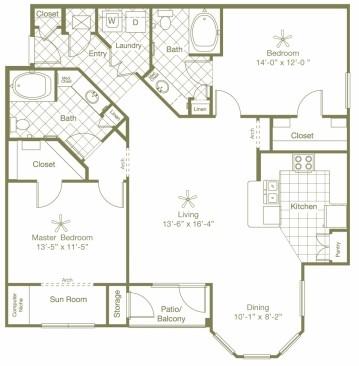 1,340 sq. ft. Landera floor plan