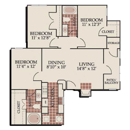 1,108 sq. ft. C1 floor plan