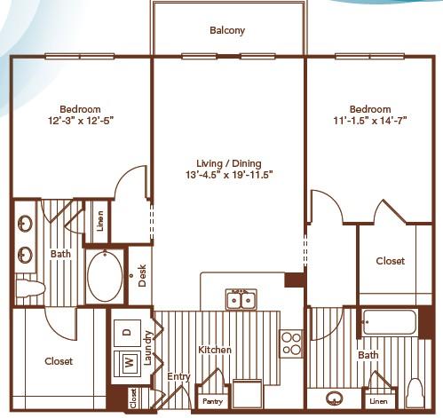 1,213 sq. ft. floor plan