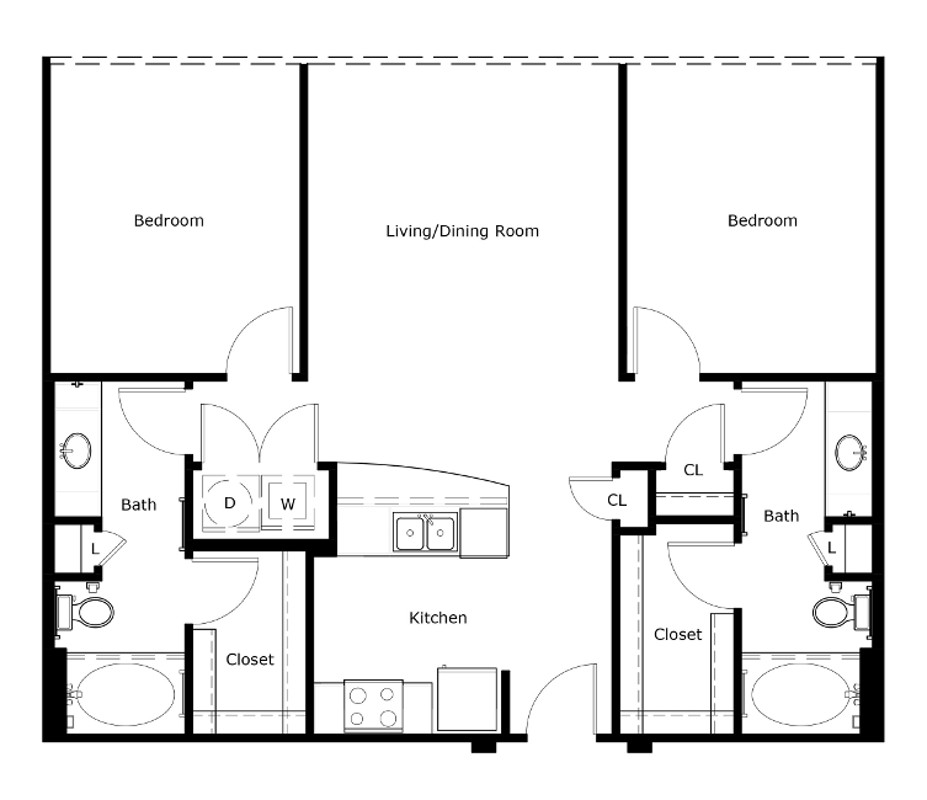 1,051 sq. ft. to 1,104 sq. ft. B1-Alt floor plan