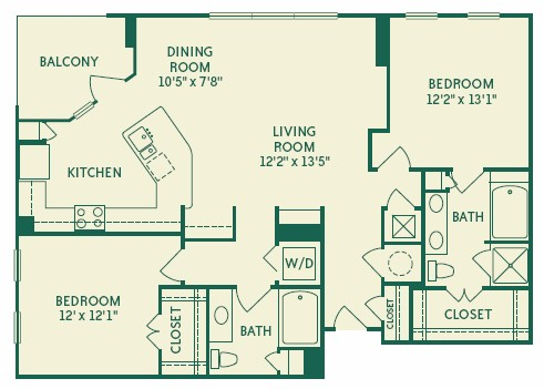 1,302 sq. ft. 2B4 floor plan