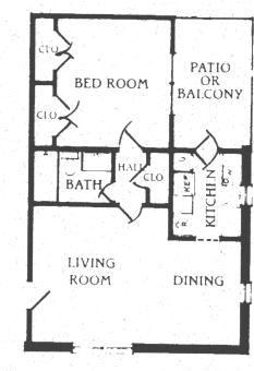 661 sq. ft. A-2 floor plan