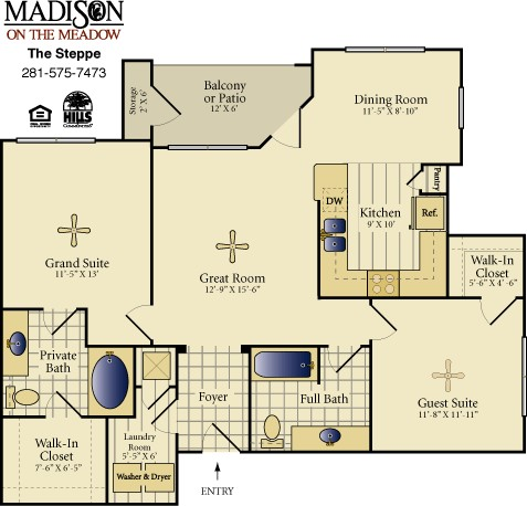 1,120 sq. ft. STEPPE floor plan