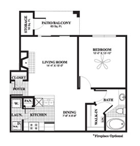 692 sq. ft. to 773 sq. ft. Maple floor plan