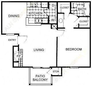 718 sq. ft. floor plan