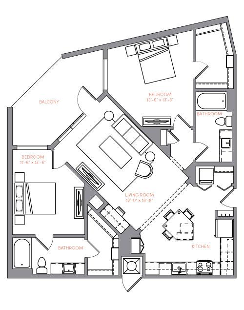 1,171 sq. ft. B3C floor plan