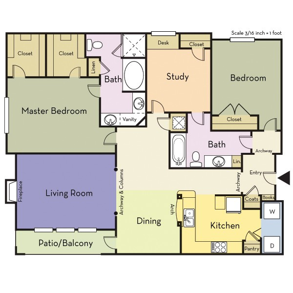1,501 sq. ft. B2BD/Turtle Creek floor plan