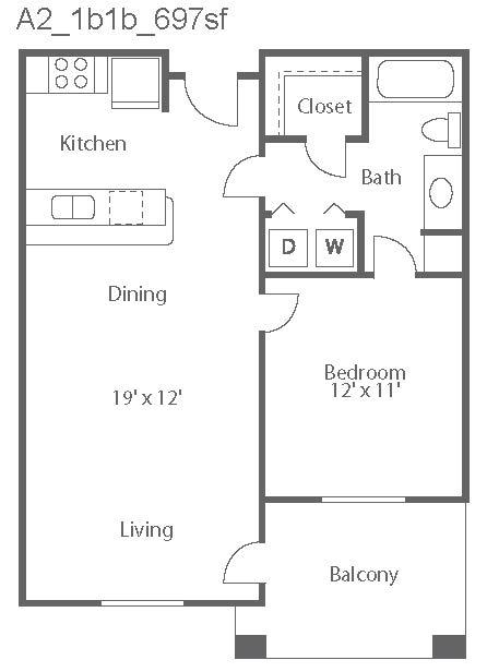 697 sq. ft. Milan/A2 floor plan