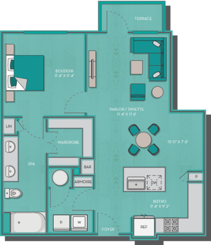 781 sq. ft. to 816 sq. ft. Tahiti floor plan