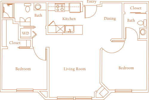 648 sq. ft. GAINSBOROUGH floor plan