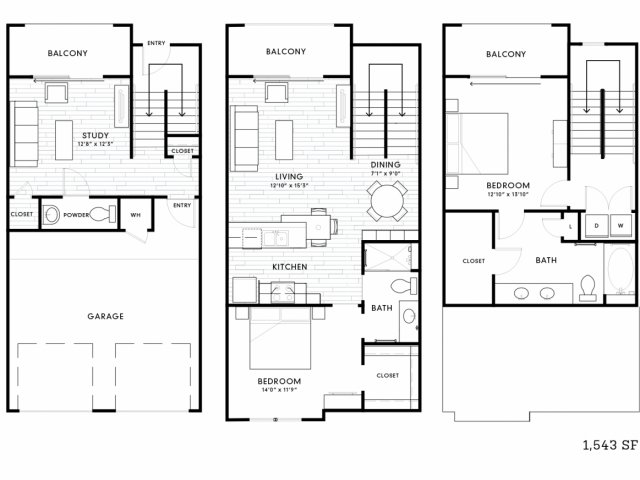 1,543 sq. ft. TH2 floor plan