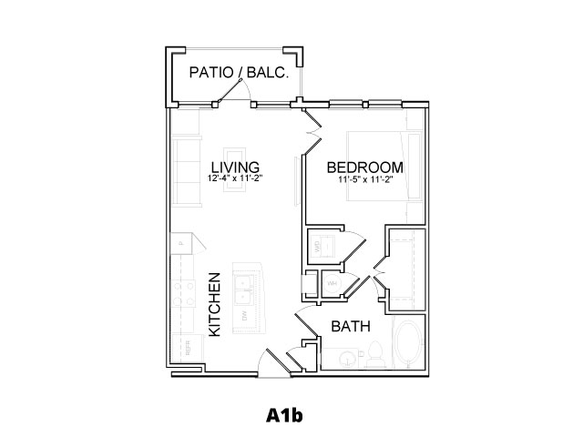 600 sq. ft. A1B floor plan