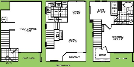917 sq. ft. A1TCR floor plan