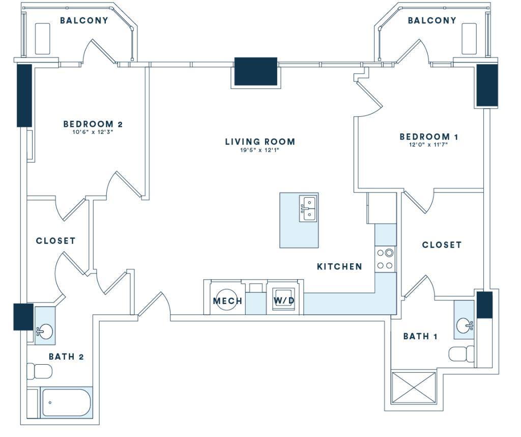 1,214 sq. ft. B5 floor plan