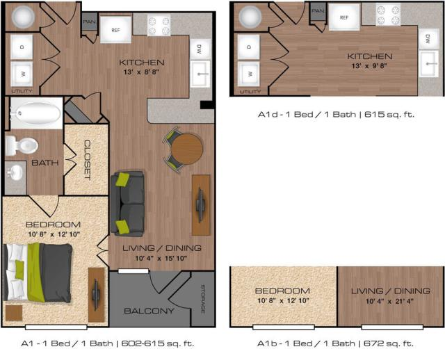 602 sq. ft. to 672 sq. ft. A1 floor plan