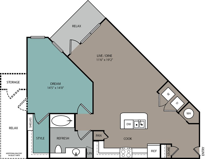 791 sq. ft. to 906 sq. ft. A2 floor plan