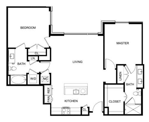 1,168 sq. ft. B2 floor plan