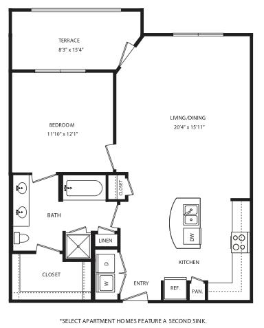 879 sq. ft. A13 floor plan