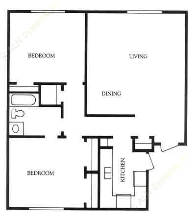 1,011 sq. ft. Lubbock floor plan