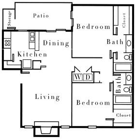 1,033 sq. ft. B2 floor plan