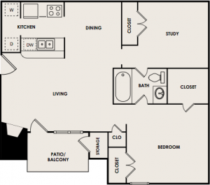 741 sq. ft. B1 floor plan