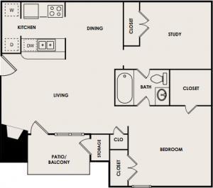 741 sq. ft. B1 floor plan