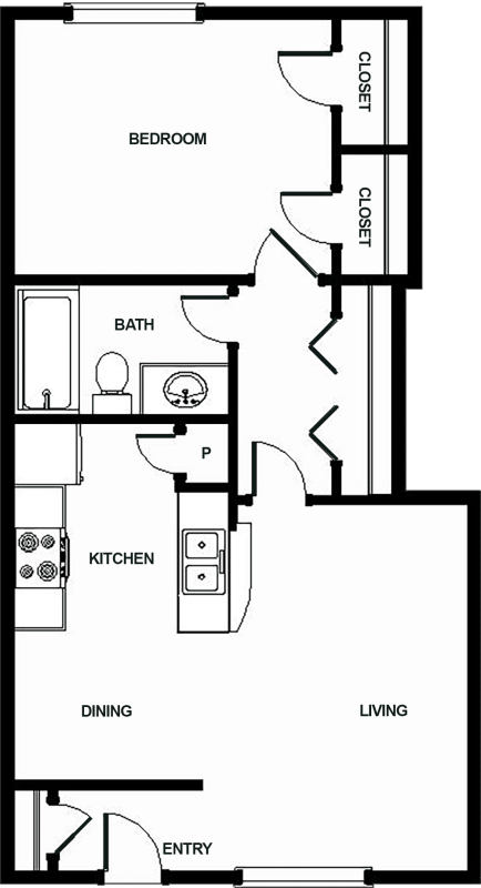 778 sq. ft. F floor plan