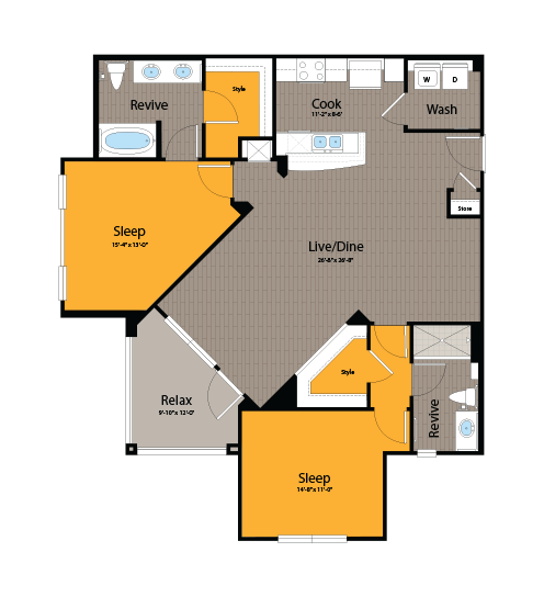 1,204 sq. ft. B3 floor plan
