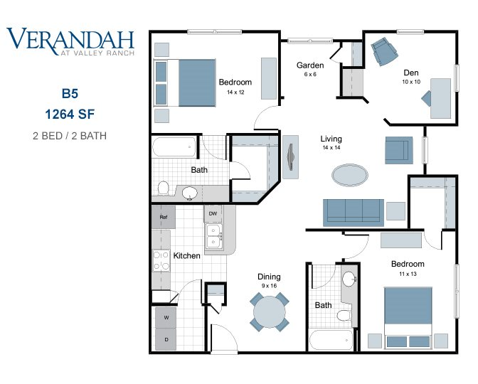 1,264 sq. ft. B5 floor plan