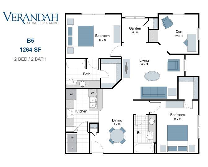 1,264 sq. ft. B5 floor plan