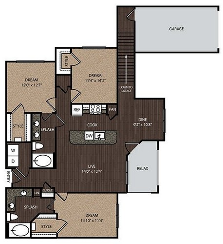 1,502 sq. ft. D1A 2nd floor plan