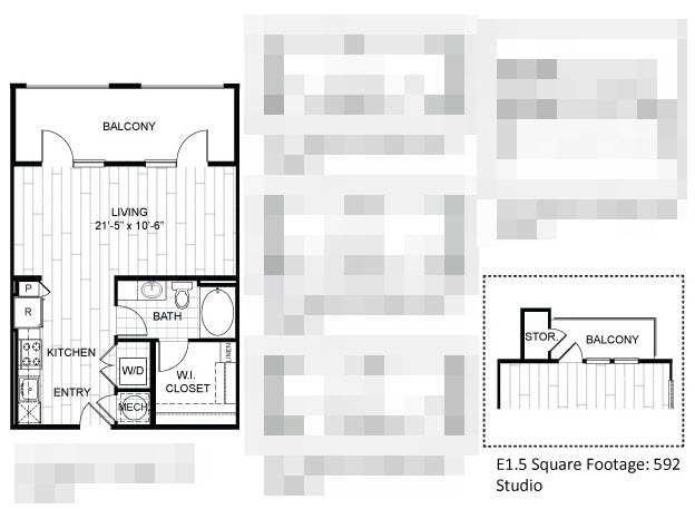 567 sq. ft. E1.2 floor plan
