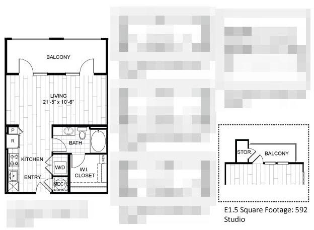 592 sq. ft. E1.5 floor plan